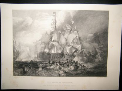 After Turner 1864 Print, The Battle of Trafalgar, Naval Maritime, Art Journal | Albion Prints